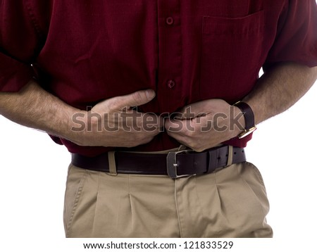 Close up image of old man having stomach pain against white background - stock photo