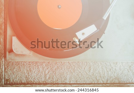close up image of old record player, image is retro filtered . selective focus  - stock photo