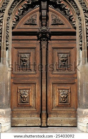 Close-up image of old wooden doors - stock photo