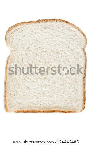 Close-up image of one slice of white bread against the white background - stock photo