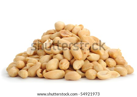 Close-up image of peanuts studio isolated on white background - stock photo