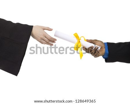 Close up image of receiving diploma against white background - stock photo