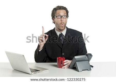 Close-up image of shocked funny face of a businessman pointing up on a white background