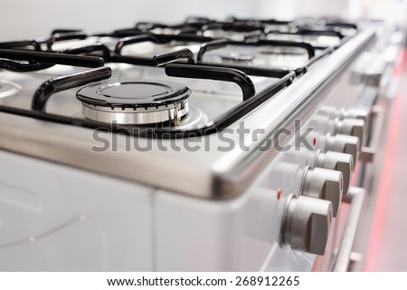 Close up image of the gas stove - stock photo