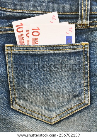 Close-up image of the money in your pocket - stock photo