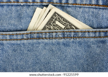 Close-up image of the money in your pocket. - stock photo