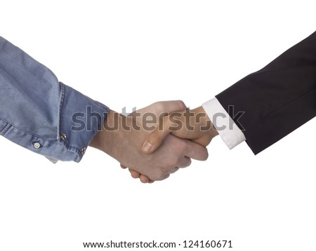 Close up image of two person doing a hand shake isolated on white background