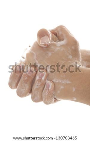 Close up image of washing hand against white background - stock photo
