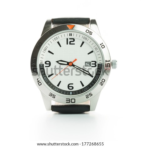 Close up image of watch on white background - stock photo