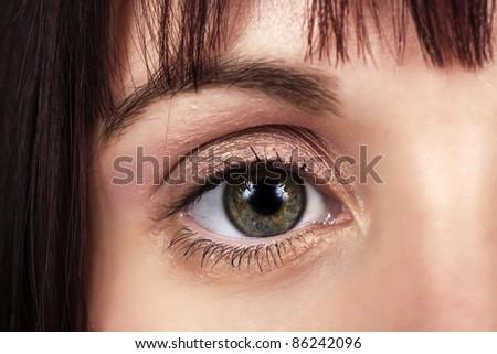 close up image of woman eye - stock photo