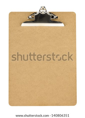 Close-up image of wooden clip board on white background.