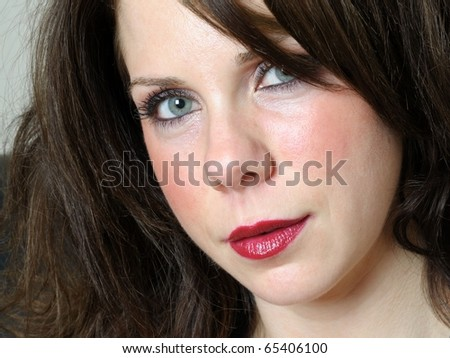 Close-up image of young beautiful caucasian female