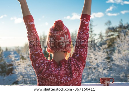Close up image of Young woman wake up happy outdoor on the balcony, freedom concept, breathing fresh air - stock photo
