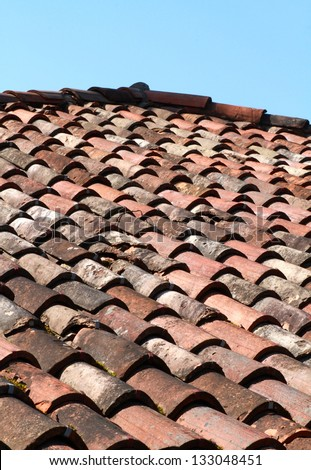 Close up image on very old roof tiles background