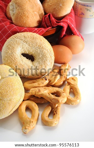 Close-up images of some bread types and some bread ingredients - stock photo