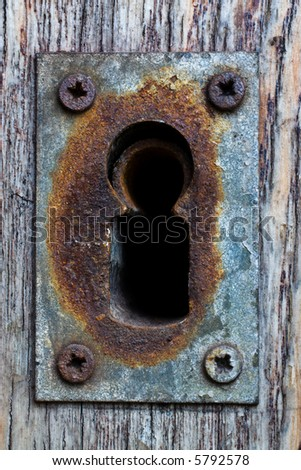 close up in old oxidized metal lock