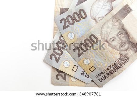 close up indonesia money on white background - stock photo