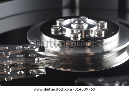 Close up inside of Harddrive (HDD) - stock photo