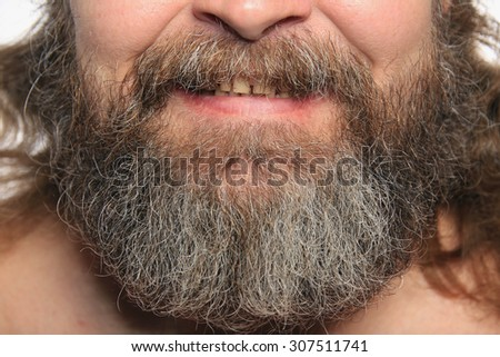 close-up isolated graying beard and mustache adult male