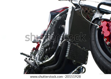 close up isolated motorbike - stock photo