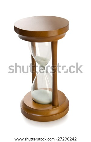 close-up isolated on white brown hourglass - stock photo