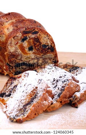 close-up isolated traditional christmas stollen cake