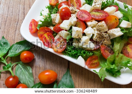 Close up Italian salad, Tomato mozzarella basil leaves on wood background - stock photo