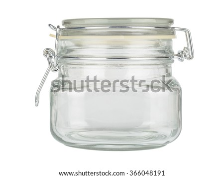 Close up jar with cap isolated on white background - stock photo