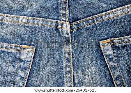 Close up jeans pocket back side of pant, texture denim - stock photo