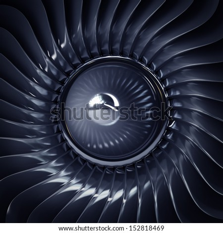 close up Jet engine front view. High resolution. 3D image  - stock photo