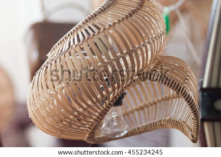 Close up jewelry boxes and personal belongings of women and ethnic minorities made from bamboo and grass - stock photo
