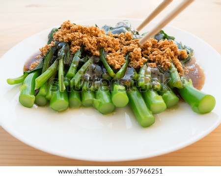 Close up Kale fried in oyster sauce. - stock photo