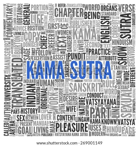 Close up KAMA SUTRA Text at the Center of Word Tag Cloud on White Background.