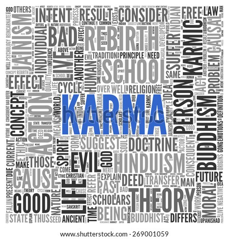 Close up KARMA Text at the Center of Word Tag Cloud on White Background.