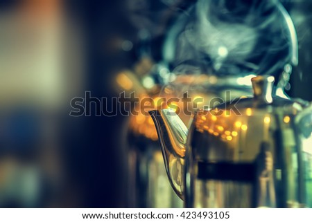 Close up kettle in coffee shop  - stock photo