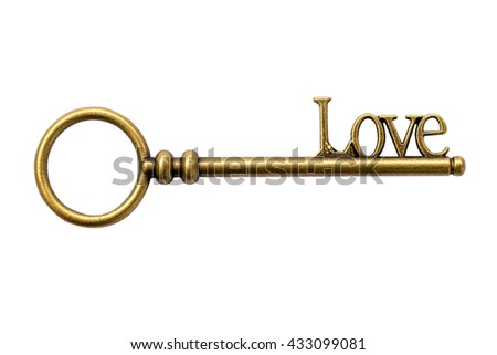 Close up Key vintage and LOVE text on isolate with clipping path. - stock photo