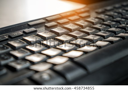 Close up keyboard Soft focus and blurred