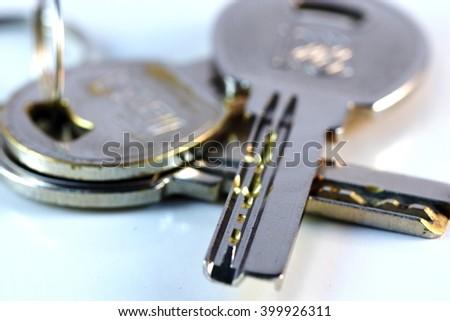 Close up keys and lock Cylinder  - stock photo