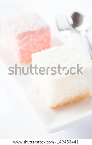 Close up lamington sponge cakes, stock photo - stock photo