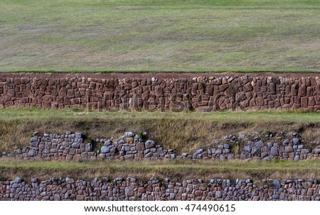 close up landscape of a traditional Inca farming terraces in Chinchero Peru