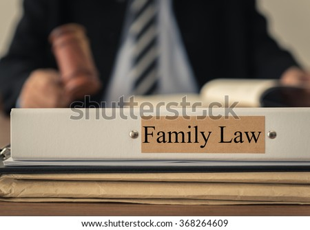 close up lawsuit folder of family law with the judge is considering a lawsuit in background. concept of family law. - stock photo