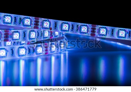 close up led strip lights, blue color - stock photo