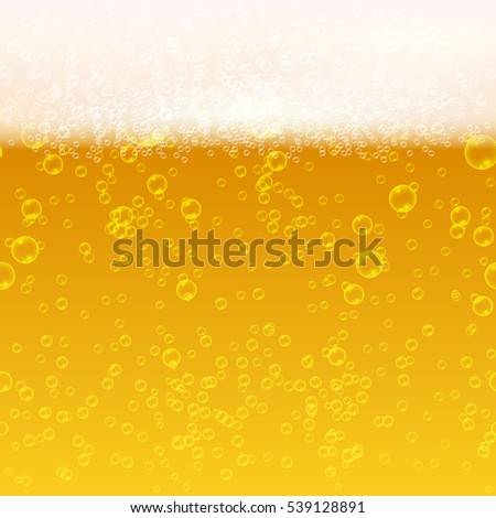 Close up light beer with foam and bubbles seamless background. Fresh beverage beer illustration