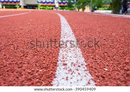 Close up line curve rubber running track standard. - stock photo