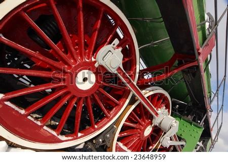 Close-up locomotive wheels - stock photo