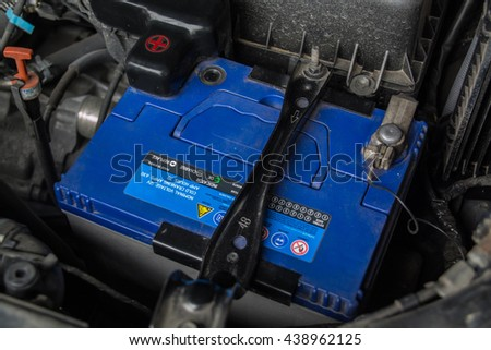 Close up look at a automobile battery