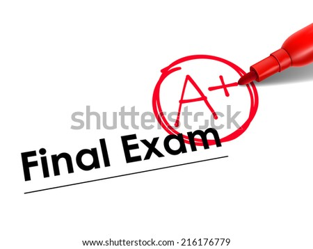 close up look at A Plus on final exam paper with red pen - stock photo