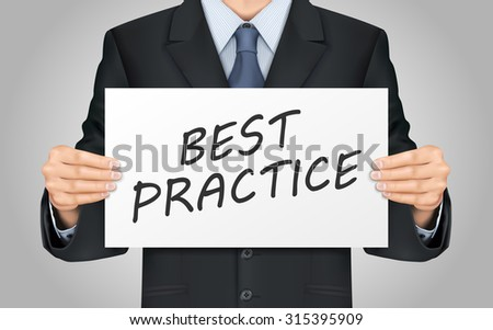 close-up look at businessman holding best practice poster - stock photo