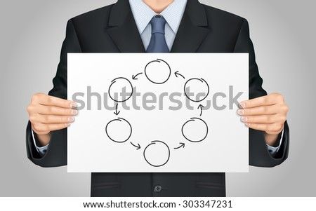 close-up look at businessman holding blank cycle diagram - stock photo