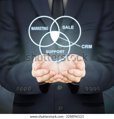 close-up look at businessman holding CRM word